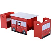 HOMCOM Wooden B 3PC Kids Table and Chairs Set Mutifunctional Bench Seat Children Book Case Toy Storage Shelves Bus Appearence Red