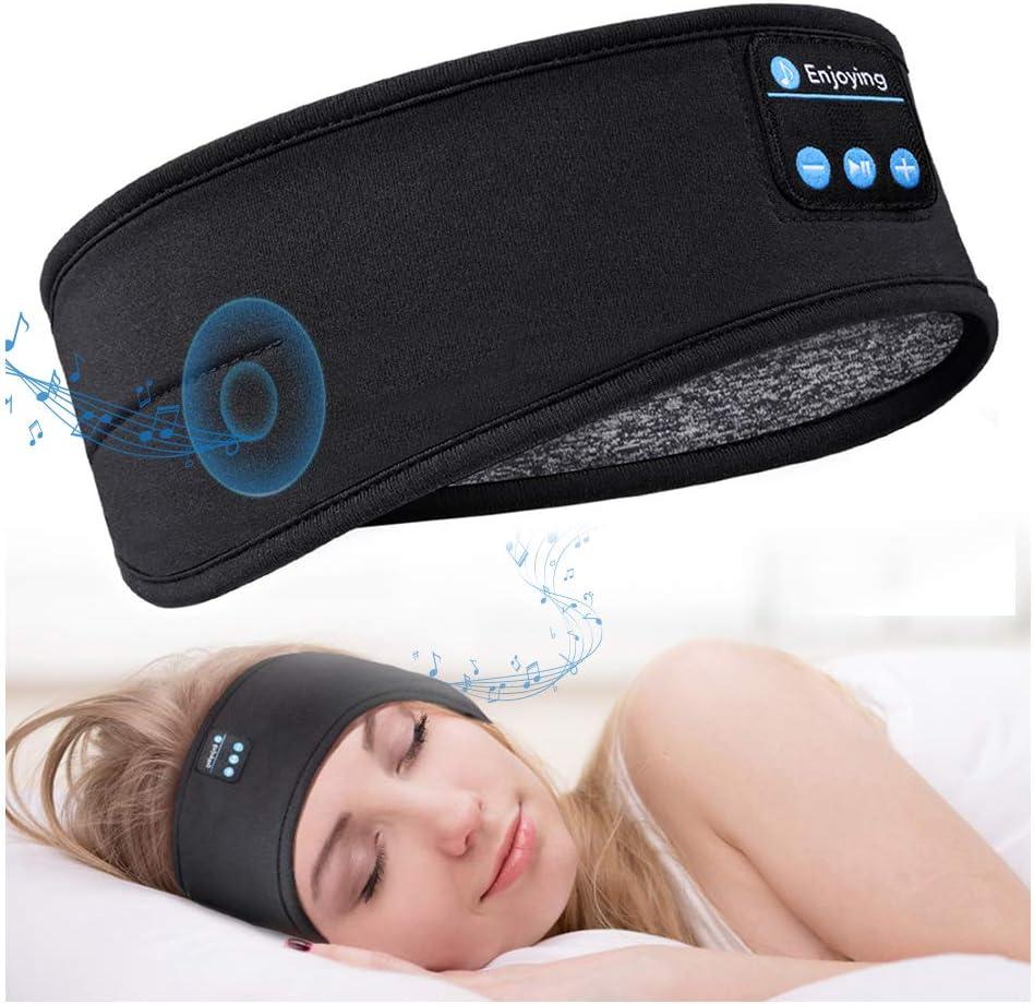 "Larger Size (22""""-23"""") Sleep Headphones Bluetooth 5.0 Sleeping Headphones Headband, Thin Soft Elastic Comfortable for Side Sleeper, Wireless Music Headband Headphones Eye Mask for Travel Sports"