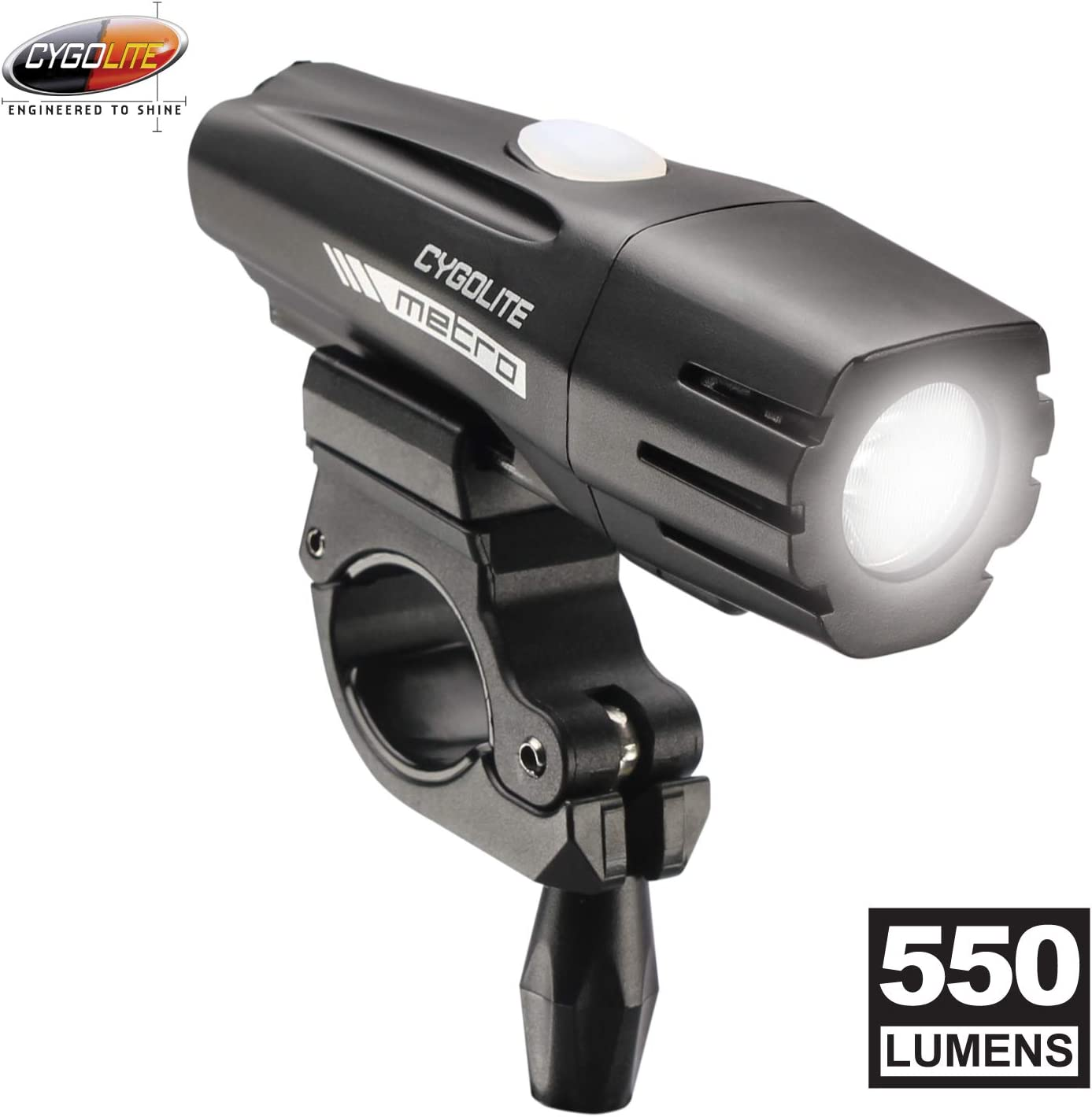 Cygolite Metro 550 Lumen Bike Light 4 Night Modes Daytime Flash Mode Compact Durable IP67 Waterproof Secured Hard Mount USB Rechargeable Headlight for Road Commuter Bicycles