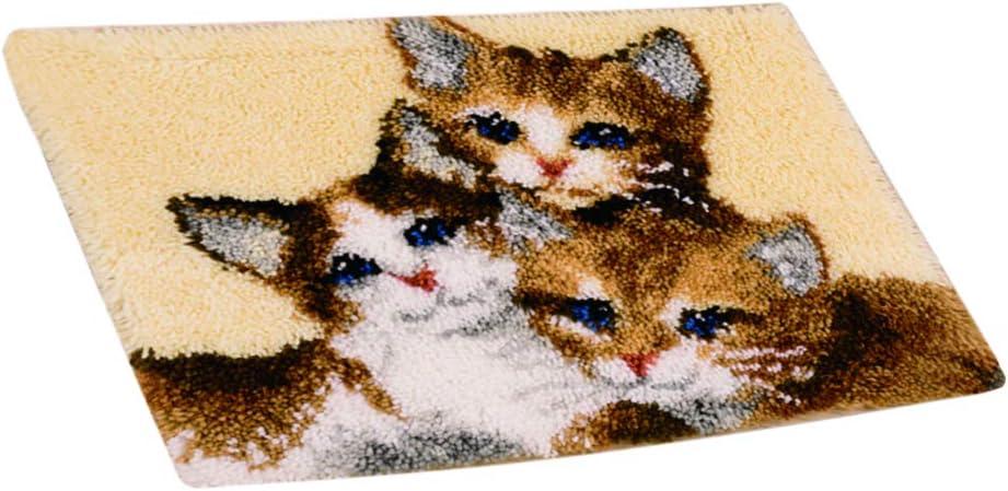 perfeclan Kn/üpfhaken-Set Kn/üpfset Teppich Gro/ße Kn/üpfteppich Formteppich Kn/üpfpackung f/ür Anf/änger /& Erwachsene DREI Katzen