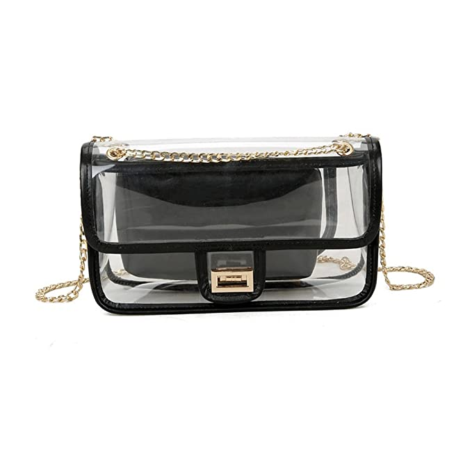 59e680ba708fb Clear Purse Transparent Handbag Women Shoulder Bags with Chain PVC Beach Purse  for Shopping Travel Work Daily Use (Black)  Amazon.co.uk  Clothing