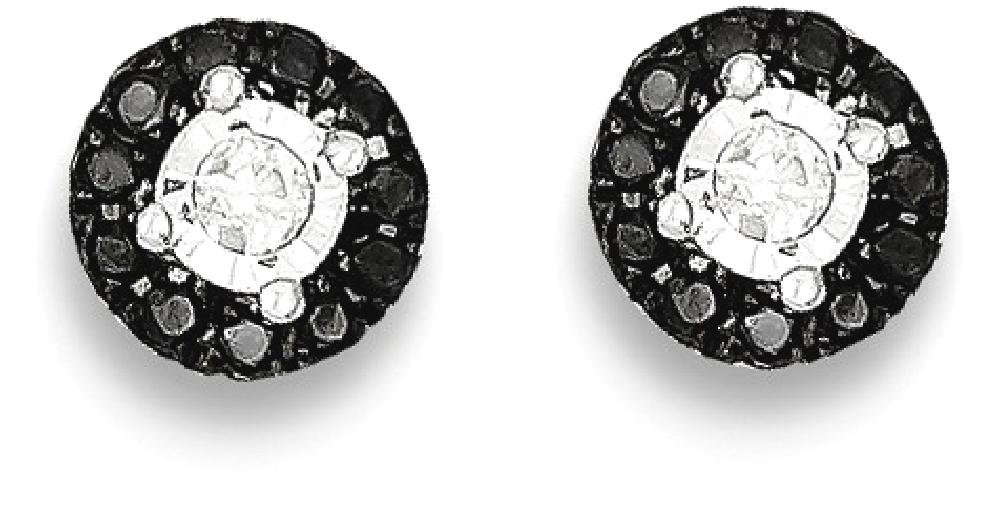ICE CARATS 925 Sterling Silver Black White Diamond Circle Post Stud Ball Button Earrings Fine Jewelry Gift Set For Women Heart