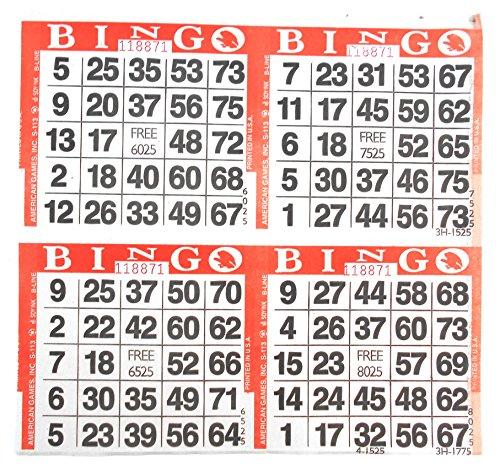 4 on Orange Bingo Paper Cards - 750 sheets - 3000 - Orange Bingo