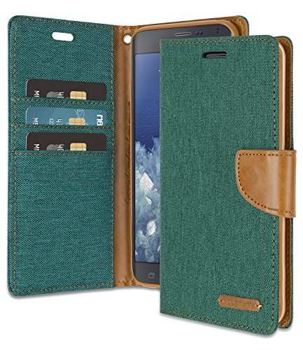 Galaxy Note 4 Edge Wallet Case with Free 4 Gifts [Shockproof] GOOSPERY Canvas Diary [Ver.Magnetic] Card Holder with Kickstand Flip Cover for Samsung GalaxyNote4Edge - Green, NT4E-CAN/GF-GRN (Samsung Note Edge Case)
