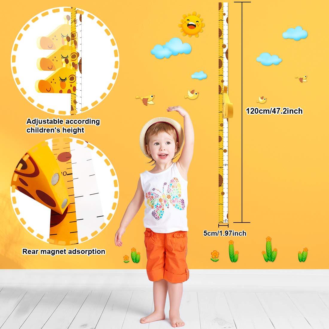 DUOUPA Tableau de Croissance Girafe R/ègle Gradu/ée pour Toise 3D Support Ecriture Taille Appuie-T/ête Amovible EVA Portable Stickers Autocollants Muraux Chambre dEnfants