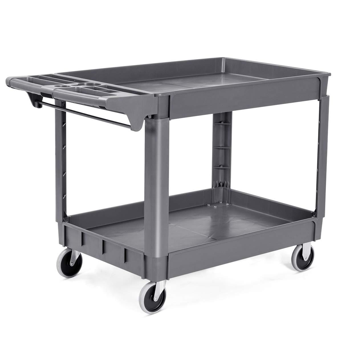 "Goplus Plastic Service Cart Utility Storage Cart for All Purpose 550 LBS Capacity (2 Shelves 46"" x 25"" x 33"")"
