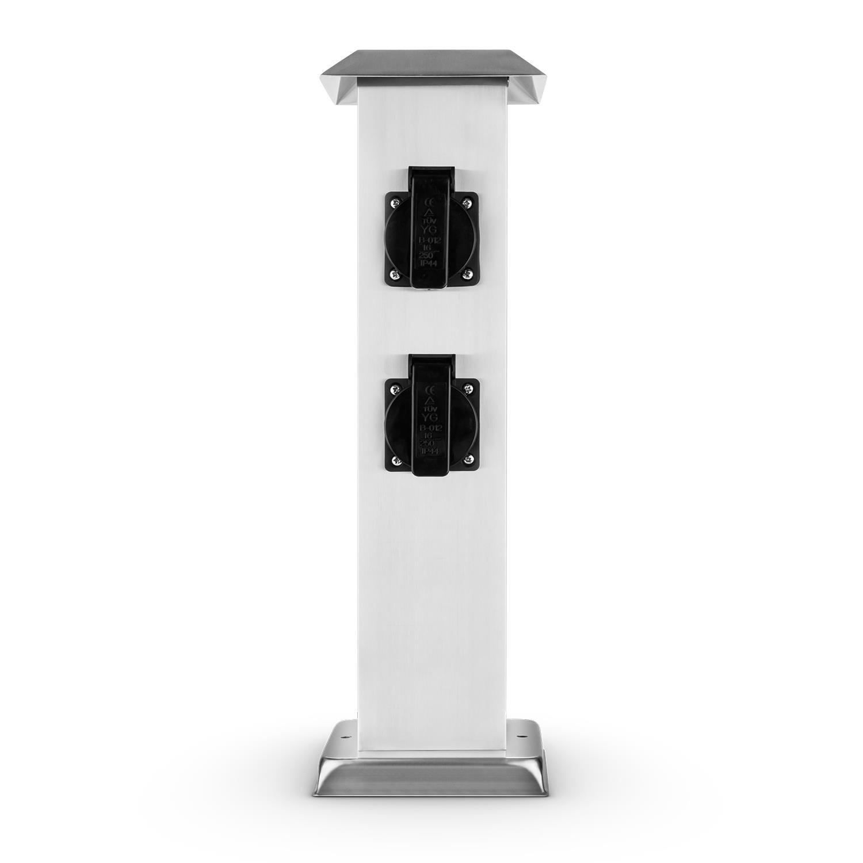 Waldbeck Plug 4 Play Square /• Columna de enchufes /• Multienchufe Exterior Jardines /• x4 Tomas de Tierra /• Protecci/ón contra Salpicaduras /• Potencia m/áx. 3500W /• Acero Inoxidable /• Planta Cuadrada