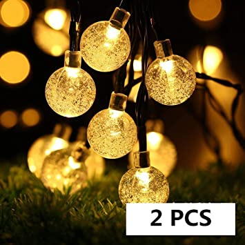 6.5M 30LED Bulb Christmas Ball Fairy String Lights Solar Powered Outdoor Indoor