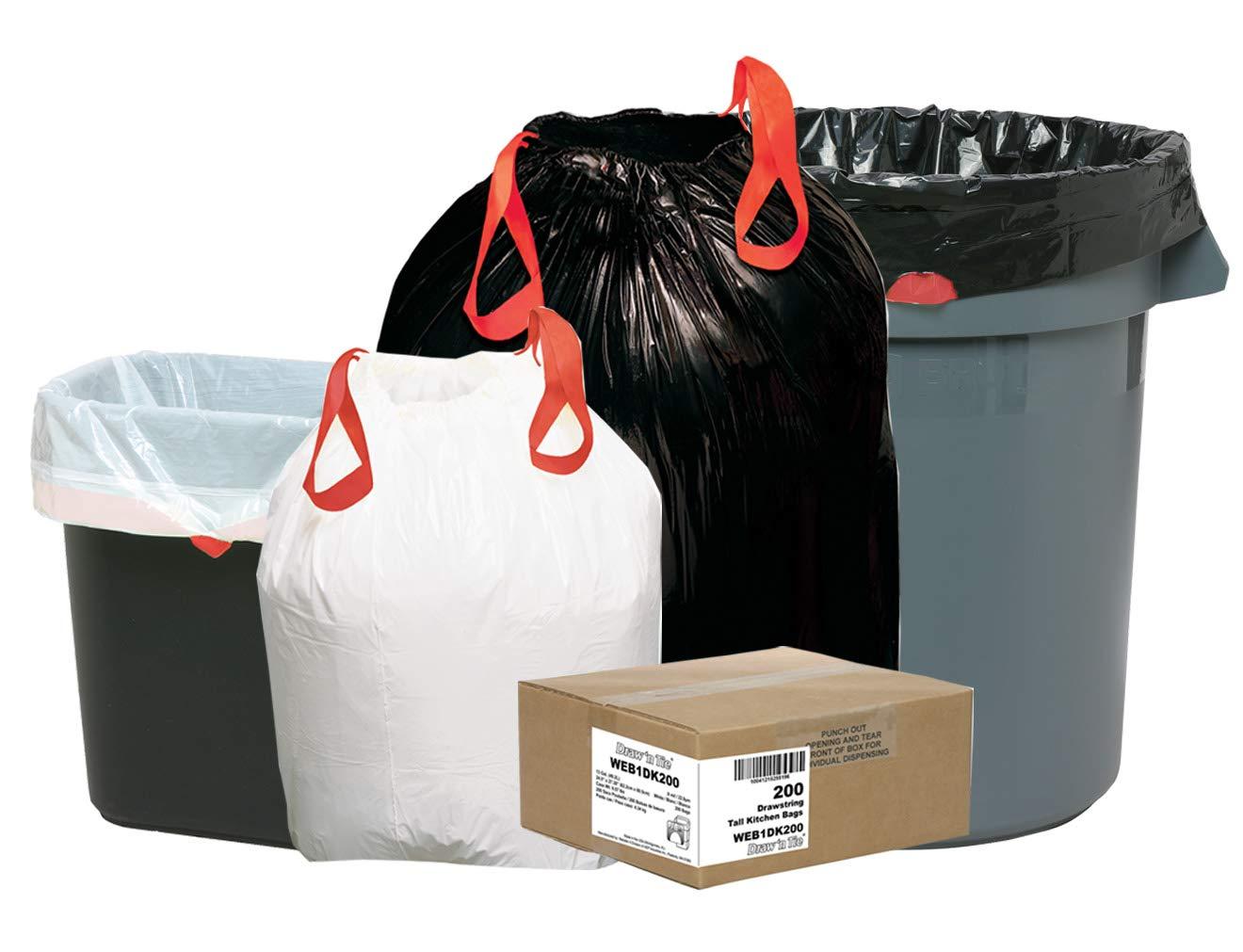 1.2mil 30 1//2 x 33 200 Per Box Draw n Tie 1DT200 Heavy-Duty Bags Black, 30gal
