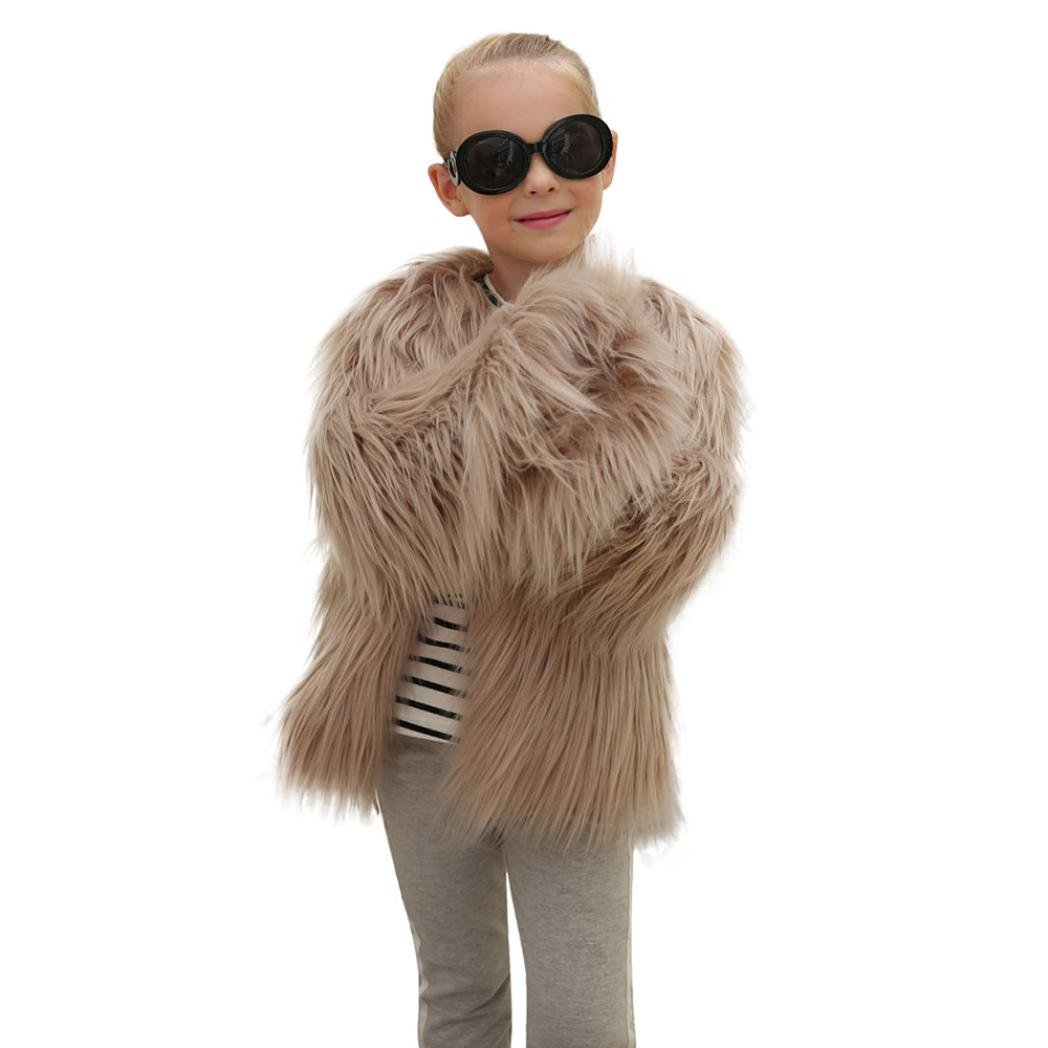 Little Kids Girls' Outerwear Jacket Winter Long Sleeve Fluffy Faux Fur Warm Coat