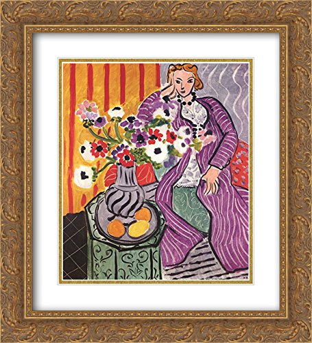 Henri Matisse 2x Matted 20x24 Gold Ornate Framed Art Print 'Purple Robe and Anemones'