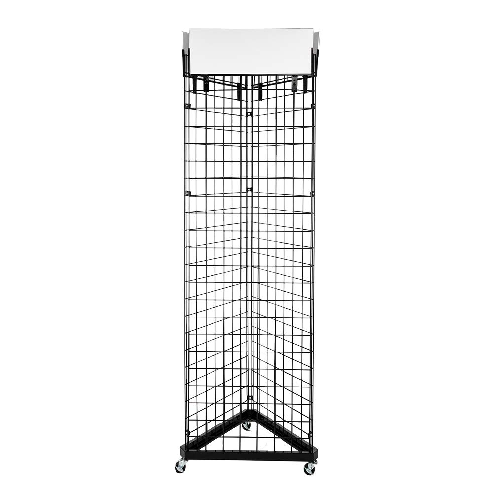 Mojogy Floor Wire Grid Panel 3-Sided Tower,Triangle Wire Grid and Grid Wall Tower with Base and Casters, Floorstanding Display Kit -Black by Mojogy