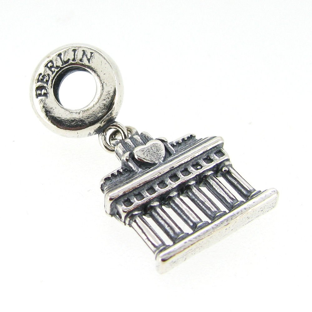 925 Sterling Silver Germany Berlin Brandenburg Gate Arch Travel Dangle Bead For European Charm Bracelet