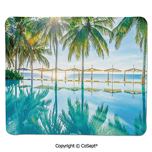 Quality Selection Comfortable Mouse Pad,Pool by The Beach with Seasonal Eden Hot Sunny Humid Coastal Bay Photography,Dual Use Mouse pad for Office/Home (11.81