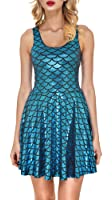 Jescakoo Women's Shiny Mermaid Sleeveless Short Tank Dresses