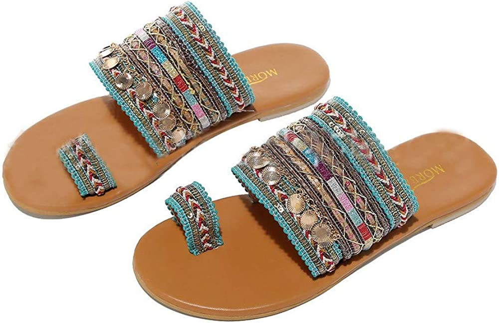 Women Sandals Flip-Flops Boho Patchwork Toe Ring Roman Outside Flat Walking Shoes Slide Slip On Sandals