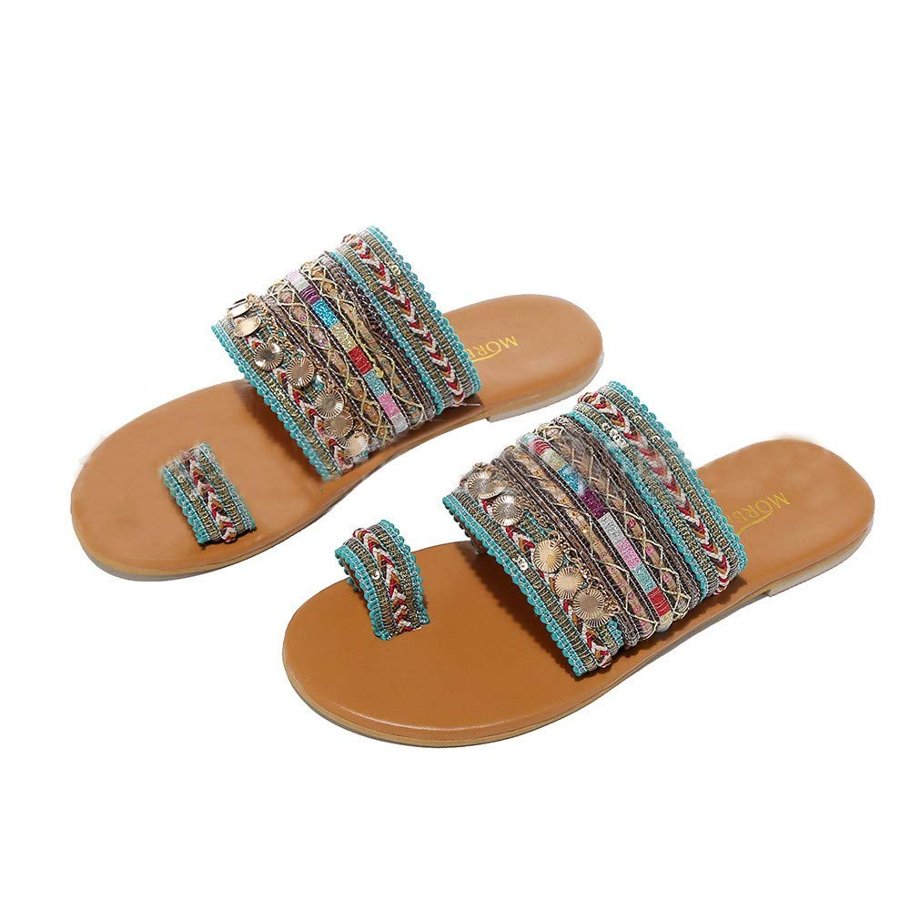 Behkiuoda Women Flat Clip Toe Slipper Sandals Summer Bohe Style Beach Holiday Vacation Flip Flop Sandals