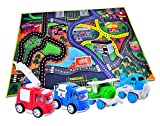 CARLORBO 4 Die-Cast Play Vehicles with Large Playmat Set - 2 Pull Back Vehicles 2 Friction Powered Airplans with a 150*100cm Play Mat, Indoor Toys for 3 year old Boys Girls