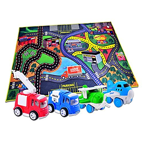 carlorbo 4 play vehicles with large playmat set die cast pull back and friction powered toys with a 5939in my town play matbest christmas gift toddler