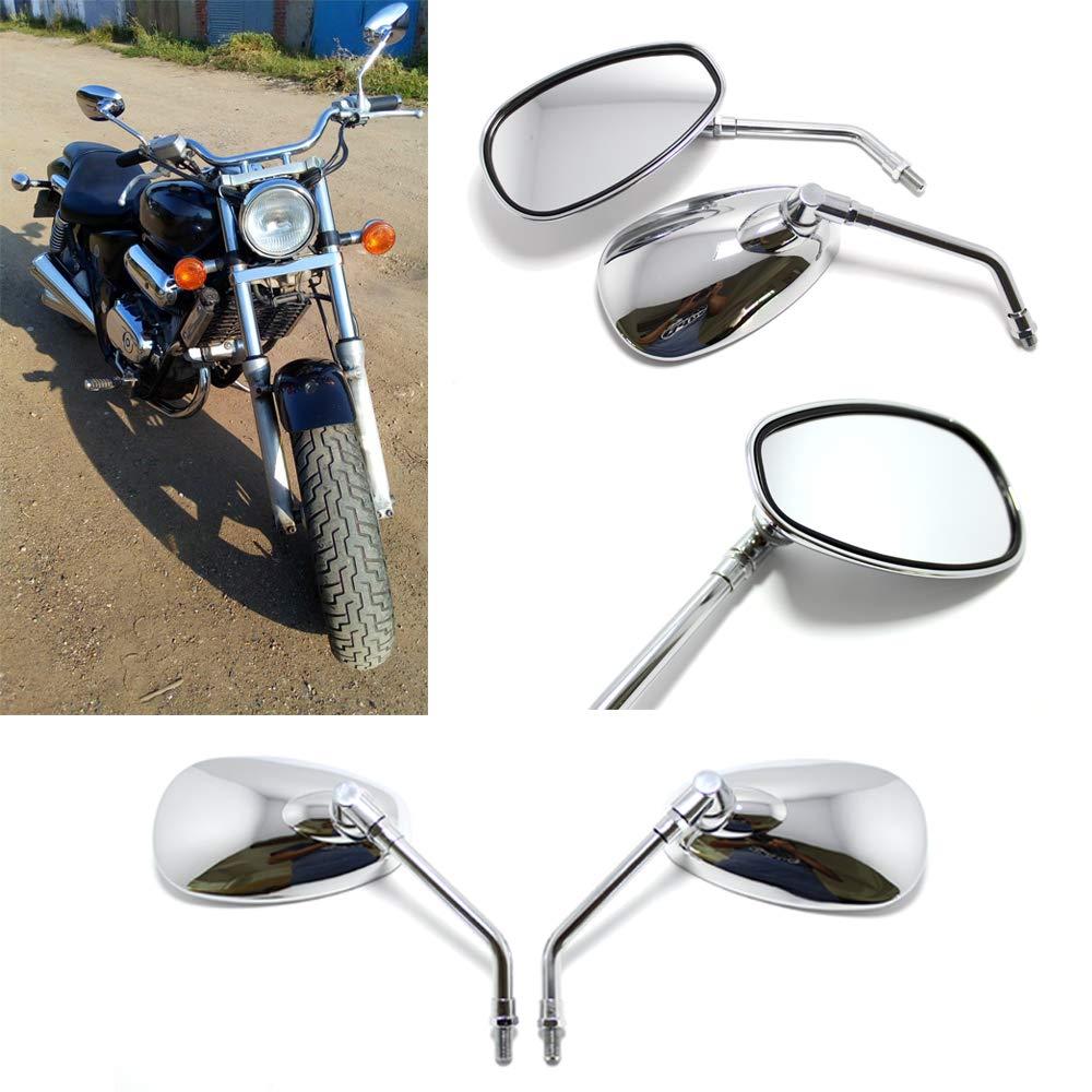 Specchietti retrovisori per moto retrovisori da 10mm con cromato per bici Chopper Street Sport Bike