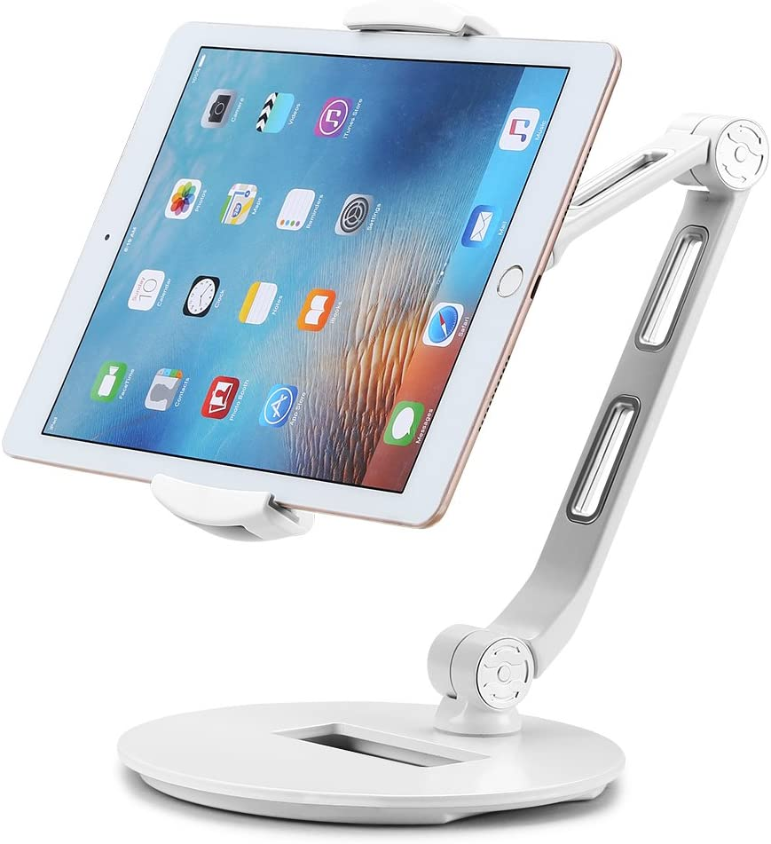 Suptek Aluminum Tablet Desk Stand for iPad, iPhone, Samsung, Asus and More 4.7-11 inch Devices, 360° Flexible Cell Phone Holder Mount, Good for Bed, Kitchen, Office (YF208DW)