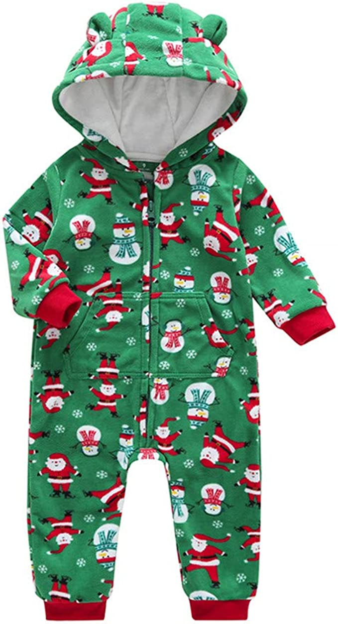 Baby Boys Girls Unisex Rompers Weant Newborn Infant Toddler Baby Winter Warm Fleece Cartoon Christmas Santa Print Zipper Hooded Romper Jumpsuit Onesie All in One Snow Suit Outfits for Kids Gifts
