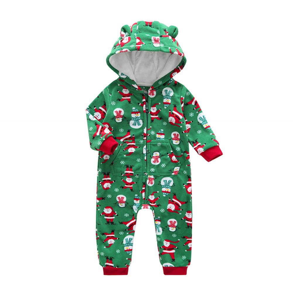 OCEAN-STORE Newborn Toddler Baby Boys Girls 3-24 Months Cartoon Christmas Warm Hooded Romper Jumpsuit Outfits