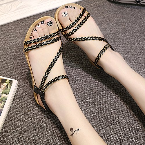 SKY Comfortable to wear it !!!Braided tie ladies flat sandals 2cm height Negro