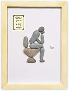 Funny Bathroom Decor Wall Art - Thinker on The Loo Wall Art for Bathroom - Hand Made 3D Pebble Art with Wood Frame Size: 12.9*9.4*1 Inches ( Finished Products )