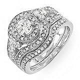 1.00 Carat (ctw) 14k White Gold Round Diamond Ladies Vintage Bridal Engagement Ring Matching Wedding Band Set 1 CT (Size 8)