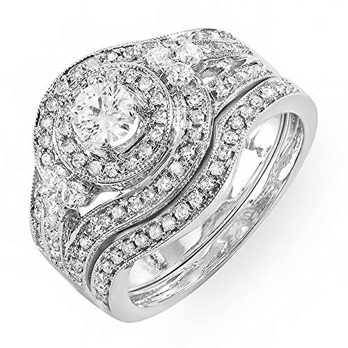1.00 Carat (ctw) 14k White Gold Round Diamond Ladies Vintage Bridal Engagement Ring Matching Wedding Band Set 1 CT (Size 8) by DazzlingRock Collection