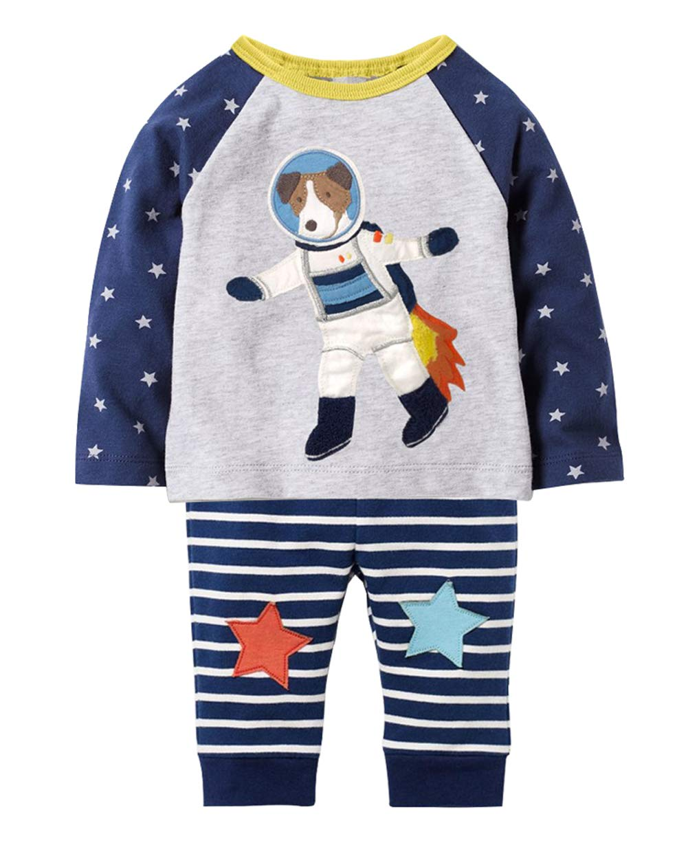 Fiream Little Boys Cotton Longsleeve Dog Cartoon Clothing Sets(7639,7T/7-8YRS)
