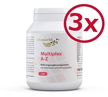 Pack de 3 Complejo Multivitamínico A-Z / 3 x 100 Comprimidos Vita World Farmacia Alemania Vitaminas