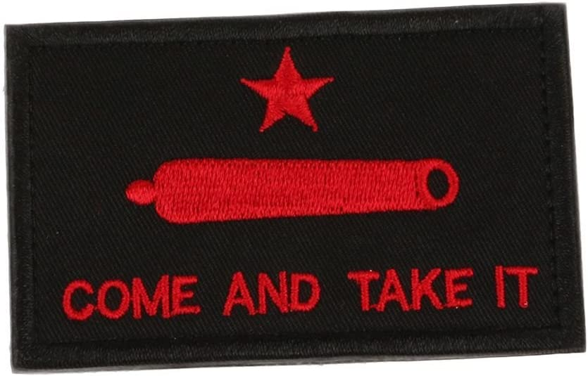 Come y Take It Gonzales parche de bandera de Texas revolución Tactical moral del ejército de cinta – rojo: Amazon.es: Hogar