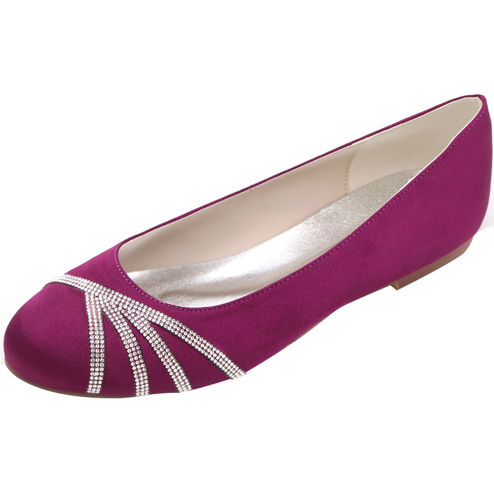 Loslandifen Women's Elegant Pointed Toe Satin Flats Punctuated with Rhinestones Party Court Shoes B01LEFVYF4 36 M EU/6 B(M)US|Purple