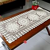 "Ustide Rustic Floral Table Runner Hand Crochet Table Runner Beige 11.8""x31.5"""