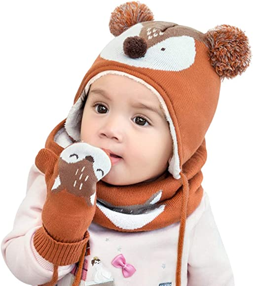 DORRISO Cute Girls Boys Caps Scarf Glove Set Autumn Winter Spring Kids Newborn Baby Caps Scarf with Glove Baby Knitted Warm Woolen Caps 1-6 Years Old