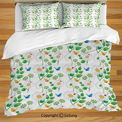SoSung Ladybugs Queen Size Bedding Duvet Cover Set,Macro Chamomiles and Ladybugs Illustration Playful Magic Spirits of The Nature Decorative 3 Piece Bedding Set with 2 Pillow Shams,White Green