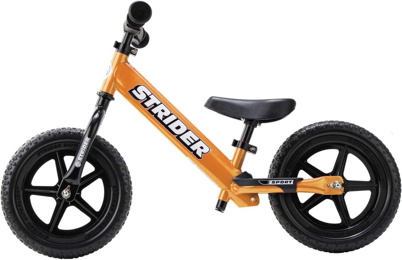 Strider 12 Sport - Bicicleta sin Pedales Ultraligera - para niños de 18 Meses, 2,3, 4 y 5 años, sillín Ajustable, 12 Pulgadas (Naranja)
