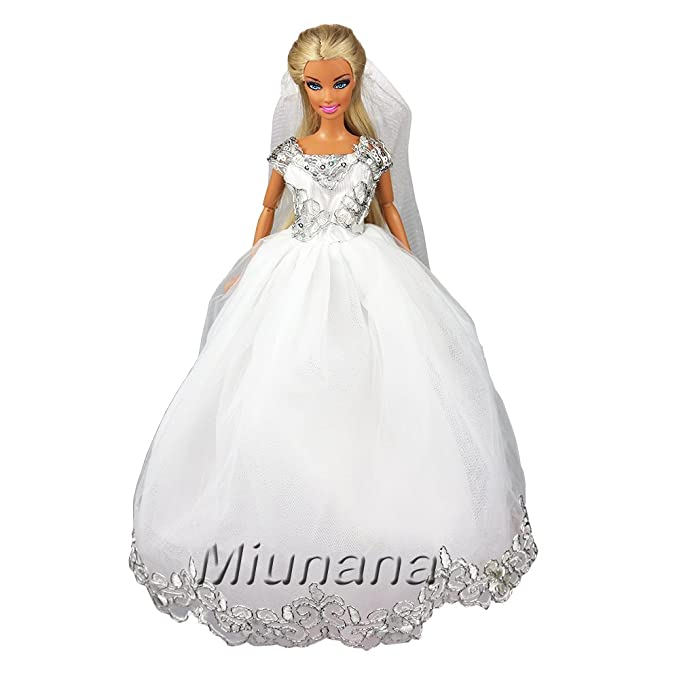 9def4c717 ... Vestir Boda para Barbie Muñeca - Blanco  Juguetes y juegos. Amazon.es  Miunana  1 Vestido Princesa Novia Elegante con Bordado + 1 Velo Ropa