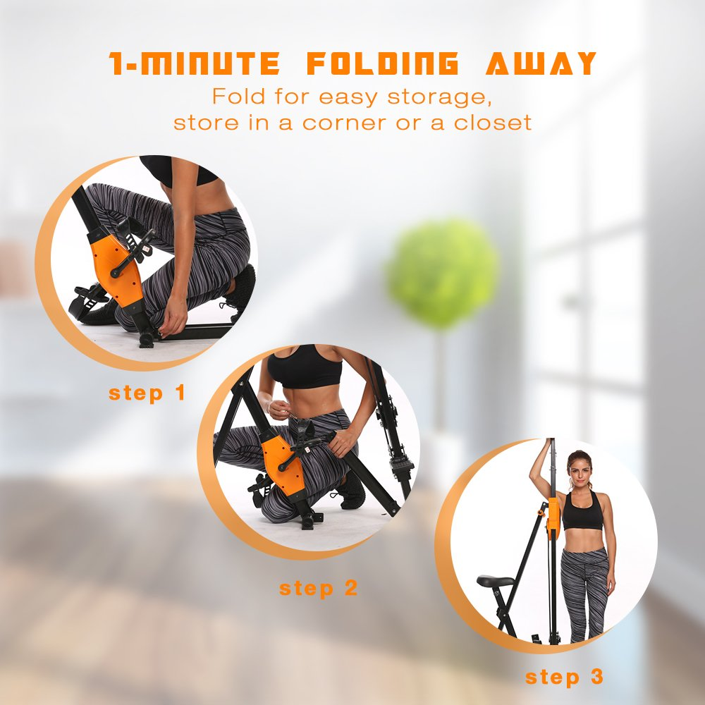 ANCHEER Vertical Climber Folding Exercise Climbing Machine, Exercise Equipment Climber for Home Gym, Exercise Bike for Home Body Trainer (Orange) by ANCHEER (Image #5)