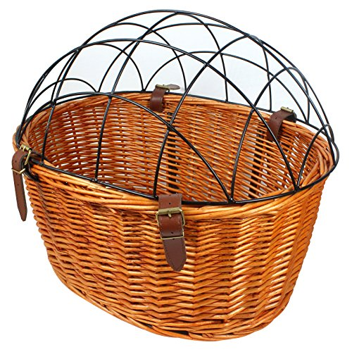 Rural Style Wicker Basket Bicycle Front Pet Cat Dog Carrier Cage