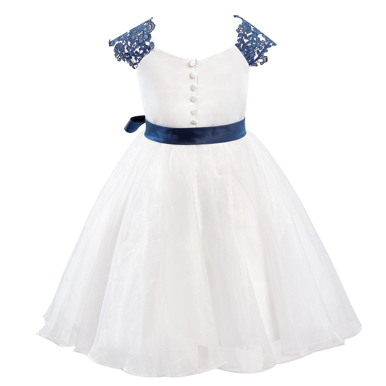 6250e43a365d9 Dresslane Navy Blue Lace Ivory Organza Flower Girl Dress Kids Dress  Amazon. co.uk  Clothing