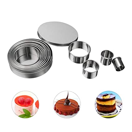 12Pcs//Set Round Shape Cutting Molds Stainless Steel Mousse Cake Ring Cutter Tool