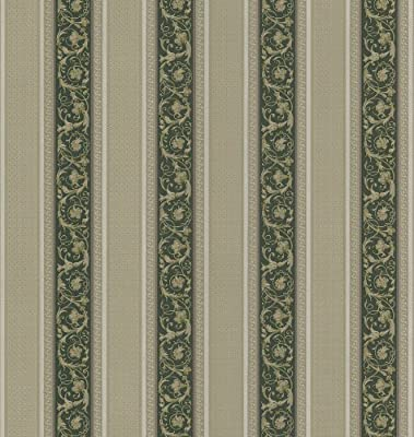 Brewster Mirage Vintage Legacy III Floral Stripe Wallpaper, 20.5-Inch by 396-Inch