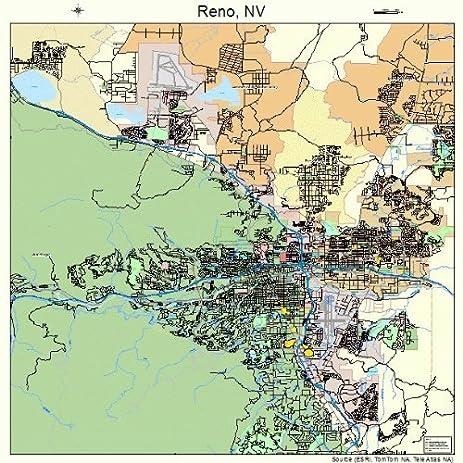 large street road map of reno nevada nv printed poster size wall atlas
