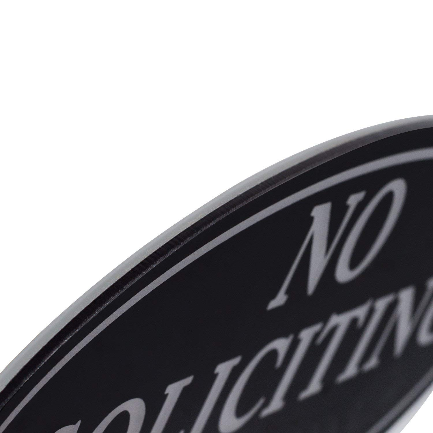 """No Soliciting Sign with Magnets on The Back, Black, 2.8"""" x 7"""", Keeps Unwanted Visitors Away, No Deforming, Residue Free Adhesive Included by Kichwit (Image #2)"""