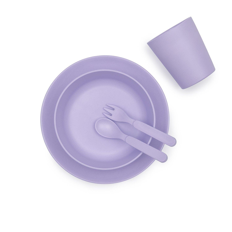 5 piezas lila y monocrom/ático Lilac Vajilla de bamb/ú azul color rosa BoBo and Boo amarillo gris