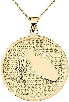 High Polish 14K Yellow Gold Aquarius Zodiac Sign Charm Pendant Cuban Chain Necklace