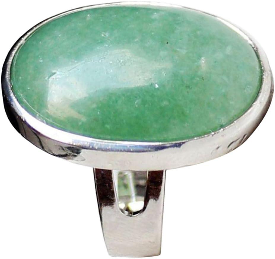 milageto Banda Ajustable Clásica del Anillo De Bodas De La Piedra Preciosa del Cristal Natural para Los Hombres De Las Mujeres - Verde